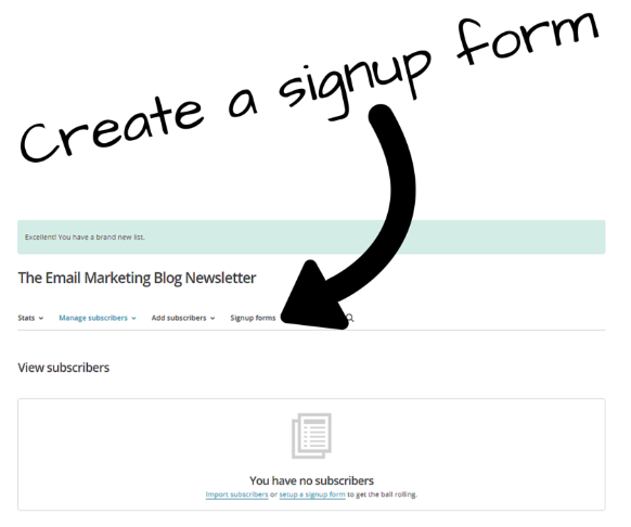 create signup form