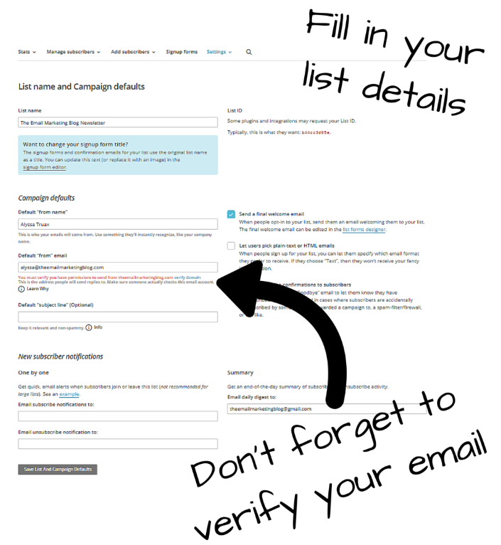 fill out list details